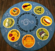 133X133CM CIRCLE RUG/MAT HOME/SCHOOLS EDUCATIONAL NON SLIP BEST SELLER MUSIC RUG